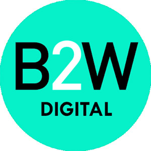 Logo B2W, no site do EIVE, ERP para e-commerce